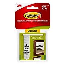 Command 17204C Picture Hanging Strips, Medium, White, 6 Pairs