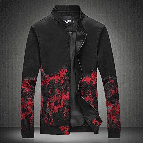 Hombres chaqueta casual primavera y otoño e invierno hombre de personalidad un simulacro de cuello Hombres Chaquetas Chaquetas chaqueta casual de Sau, flor roja Serie L