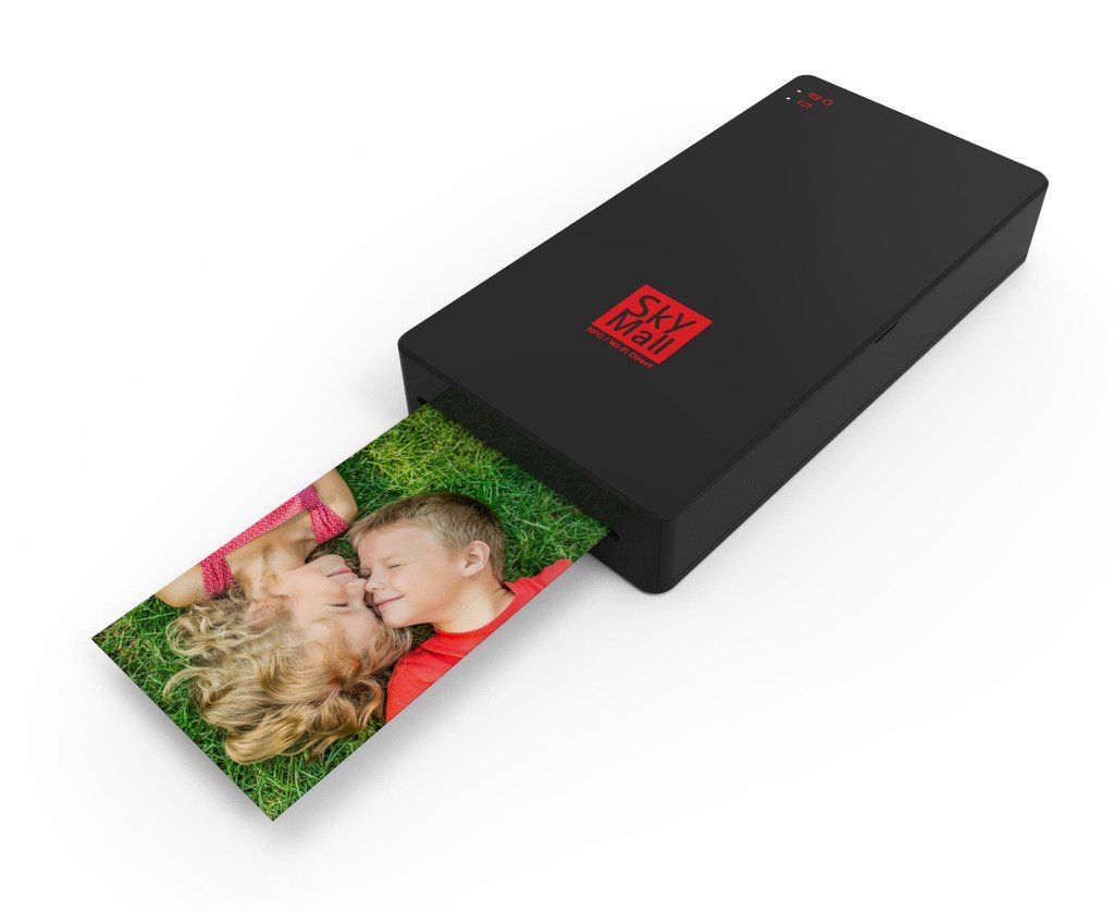 SkyMall Mobile Wi-Fi & NFC Photo Printer with Dye Sublimation Printing Technology & Photo Preservation Overcoat Layer (Black)