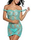 ADOME Women Lingerie Set Off Shoulder Sleepwear Lace Babydoll 2 Piece Outfits (M, Green4)