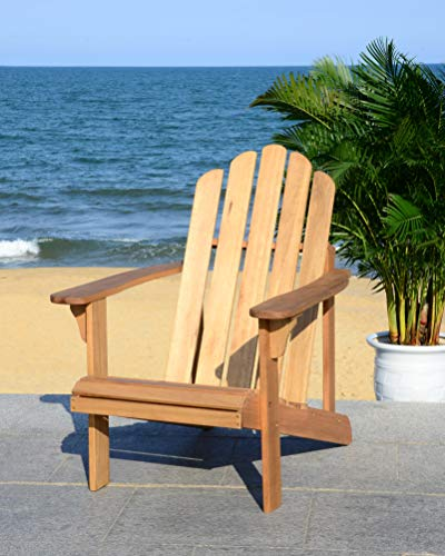 Safavieh PAT7027A Outdoor Collection Topher Teak Adirondack Chair, - Teak Furniture Adirondack Collection