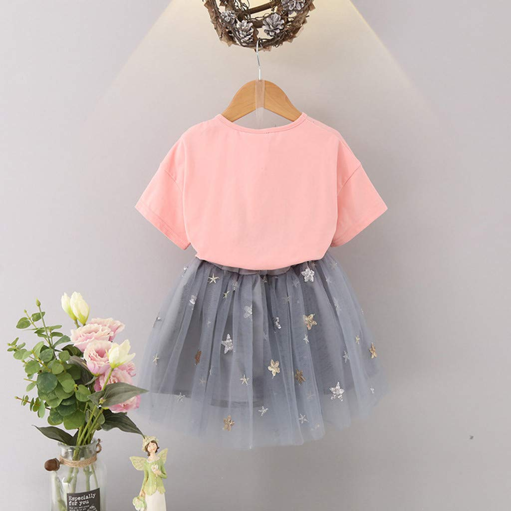 Toddler Kids Baby Girls Outfits Clothes Flower T-Shirt Top+Stars Tulle Skirt Set