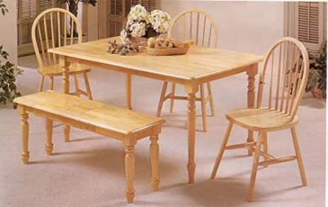 Marvelous Farmhouse Natural Country Solid Wood 6Pc Dining Set