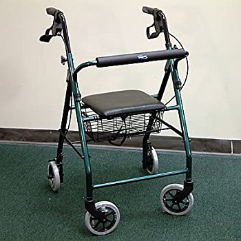 Soft Seat Aluminum Rollator With Straight Backrest Color: Green