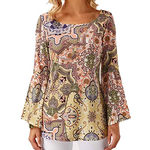 Sleeve Scoop Necklace - Henleys,Toimoth Fashion Womens Casual Flare Sleeve Printed Long Sleeve O-Neck Blouse Tops (Multicolor,2XL)