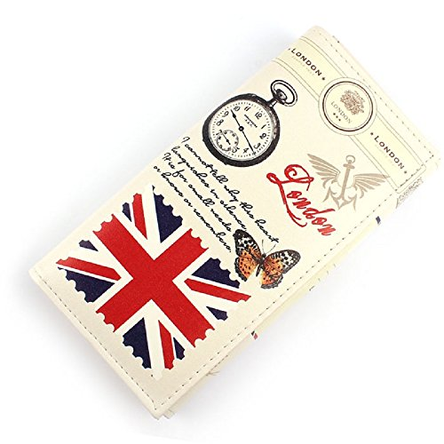 Doinshop 1PC Cute Charm Retro Girl Long Purse Clutch Wallet Bag Card Holder (British Flag Pattern)