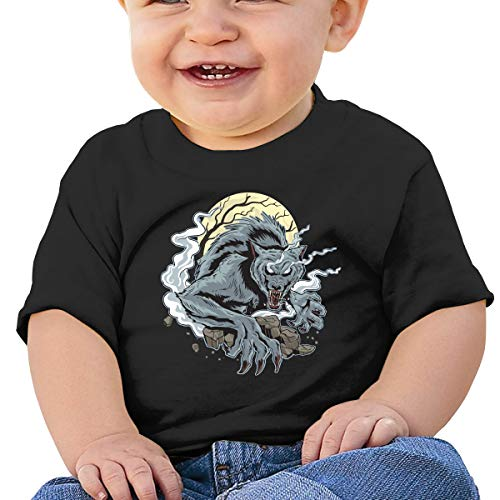 Mostico Nachill Wolf in Full Moon Night Unisex Infants Cotton T-Shirts Clothing Black]()