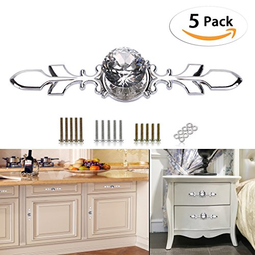 Drawer Knob Glass (Sumnacon Drawer Dresser Knobs Pull Handles - Crystal Glass Diamond Decorative Knobs with Plate, Cabinet Cupboard Door Knobs with Screws for Kitchen Bathroom Office Decoration Pack of 5)