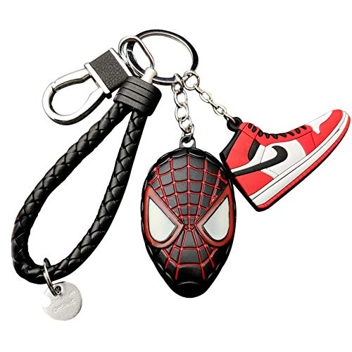 Spider-Man Into The Spider-Verse Miles Morales Spiderman Cosplay Zinc Alloy Keychain Knited PU Car Keyring Keychains B