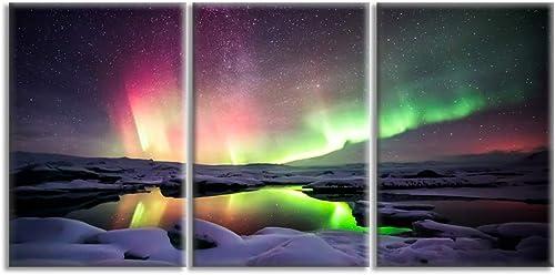KALAWA Aurora Scenery Painting Print on Canvas Orealis Iceland Landscape Northern Light Canvas Wall Art