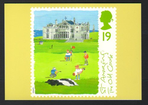 (Golf Courses St Andrews The Old Course Royal Mail Official Stamp Postcard )