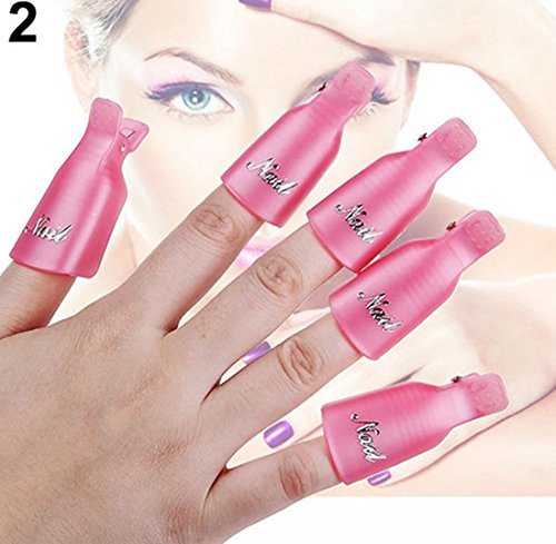 Pennant Cap (1-Set (10 Pcs) Delightful Popular Plastic Nails Art Clip Cap Gel Remover Primer Decor Pedicure Kit Color Pink)