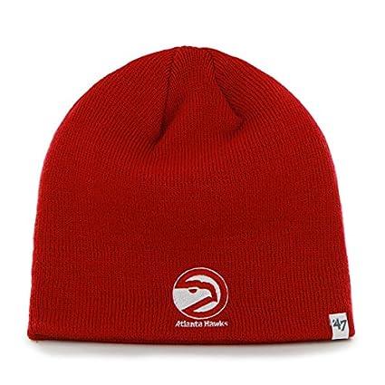 26e9138b523  47 Atlanta Hawks Red Skull Cap - NBA Cuffless Winter Knit Beanie Toque Hat
