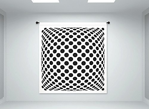 ''Polka Dots'' Op Art Illusion - Fabric Wall Panel in ''Mad Men'' Style - XTRA LARGE 6'x6'3'' (hardware not included) by Vertigo Creative Products