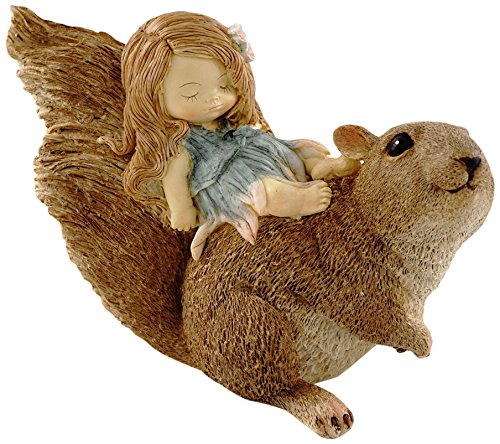 Cheap Top Collection Miniature Fairy Garden and Terrarium Statue, Little Fairy Sleeping on Squirrel
