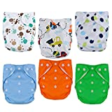 Aniwon 6Pcs Baby Cloth Diapers Washable Pocket Diapers (10 Inserts 1 Wet Bag)