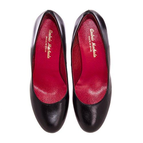 Andres Machado.ALEJANDRA.Zapato de Piel.Tallas Pequeñas y Grandes32/35,42/45. Mujer. MADE IN SPAIN negro