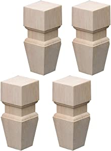 RXBFD Wooden Furniture Feet,Heavy Duty Furniture Legs,Unfinished Bun Feet for Cabinet Sofa Ottoman TV Stand Loveseat Dresser,Easy to Install Wood Legs for Furniture,Set of 4