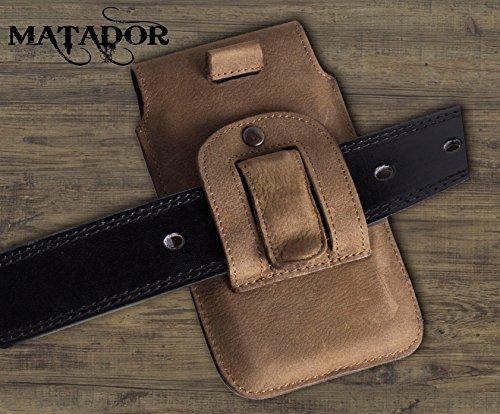 Matador iPhone 5 / 5S / SE ECHT Leder-Hülle / Leder-Case / Leder-Tasche mit Magnetverschluss und Gürtelclip (Easy Out System) Vintage Antik Tabacco