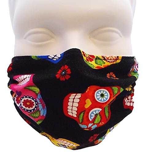 Breathe Healthy Dust, Allergy & Flu Mask - Comfortable, Washable Protection from Dust, Pollen, Allergens, Cold & Flu Germs with Antimicrobial; Asthma Mask; Skull Pattern Mask (Adult, Sugar (Great Skull Masks)