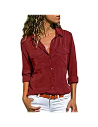 UOKNICE Womens Blouses, Long Sleeve Casual Solid V-Neck Turn Down Collar Pockets Button Front Shirt Pullovers Tops