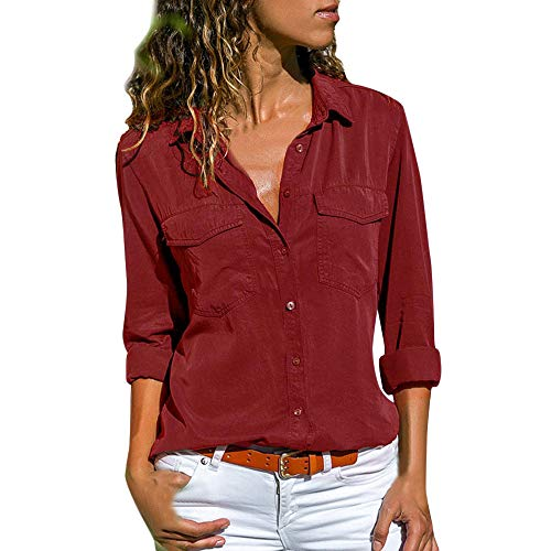 Women Casual Solid Long Sleeve Turn Down Collar Pockets Button Front Shirt -