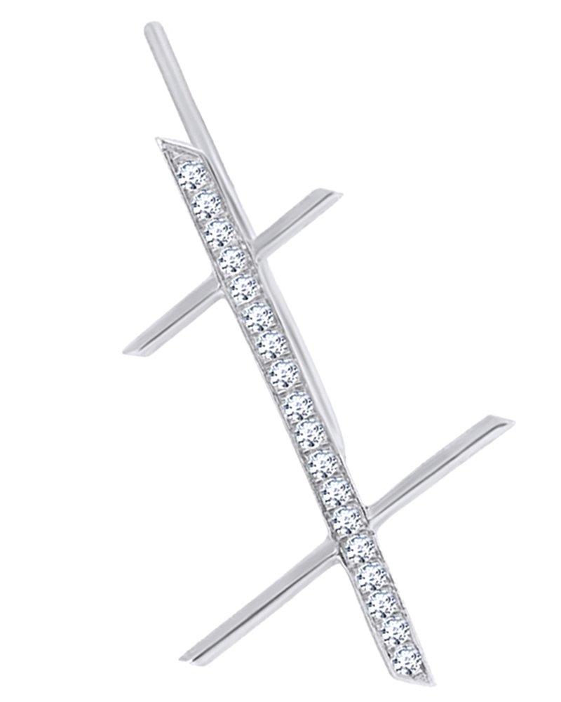 White Natural Diamond Criss Cross Single Earring in 14K Solid White Gold