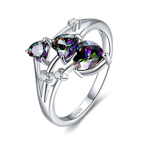 Merthus 925 Sterling Silver Band Created Mystic Rinbow Topaz Heart 3 Stone Promise Ring for ()