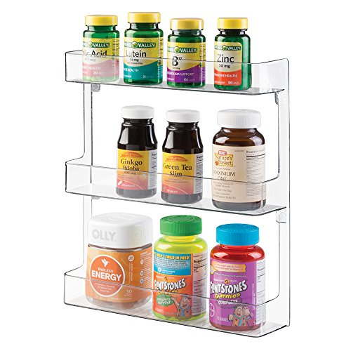 mDesign Storage Organizer for Vitamins, Supplements, Health Supplies - 3 Tier, Wall Mount, Clear