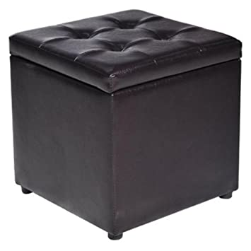 HomCom 16u0026quot; Faux Leather Storage Ottoman / Footstool   Black