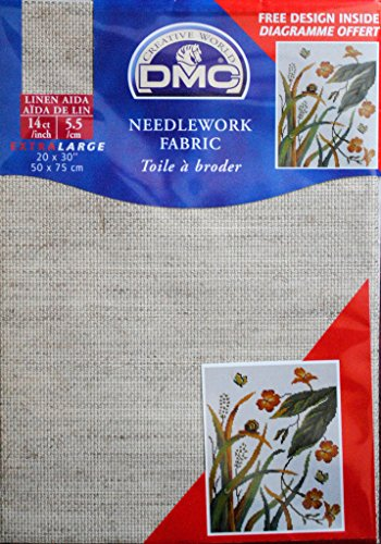 DMC DC28L-ECRU Aida Linen Needlework Fabric, 20 by 30-Inch, Ecru, 14 Count