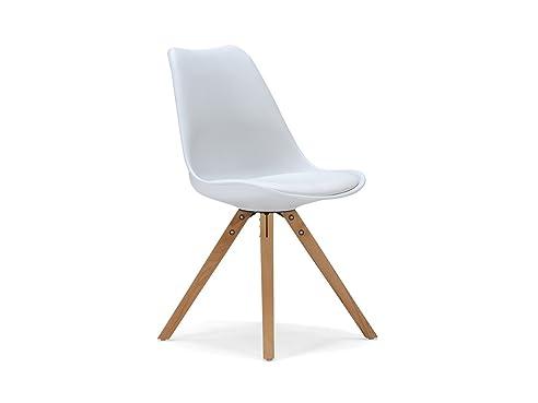 Captivating Massivum Retro Esszimmer Stuhl California 49x83x53 Aus Holz Natur Lackiert  Und Kunststoff Weiß Mit