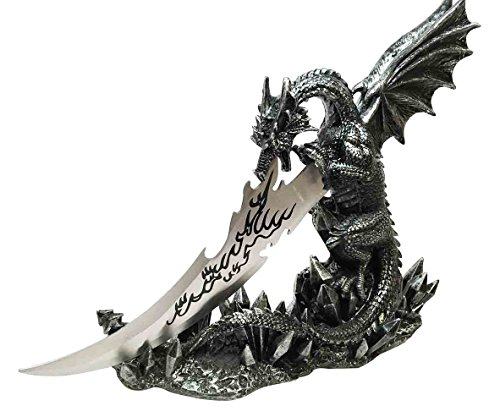 Ebros Medieval Dreamwork Fantasy Dragon Fire Breath Dagger Letter Opener Knife with Base Holder Statue Home Office Decor Figurine Dungeons and Dragons GOT Obsidian - Down Figurine Ears