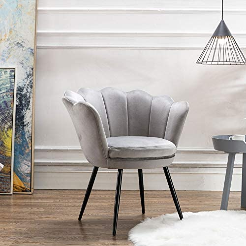 chairus Velvet Leisure Chair for Living Room Bed Room, Upholstered Mid Century Modern Accent Arm Chair with Black Metal Legs, Guest Chair, Vanity Chair Warm Gray