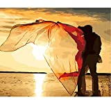 SUBERY DIY Oil Painting Paint by Numbers Kits for Adults Kids Beginner - Couples Married by The Sea 16x20 inches (Frameless)