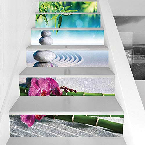 Stair Stickers Wall Stickers,6 PCS Self-Adhesive,Spa Decor,Sand Orchid and Massage Stones in Zen Garden Sunny Day Meditation,Stair Riser Decal for Living Room, Hall, Kids Room Decor by iPrint