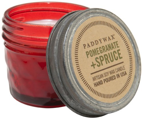 Paddywax Relish Collection Scented Soy Wax Jar Candle, 3-Ounce, Red Pomegranate & Spruce