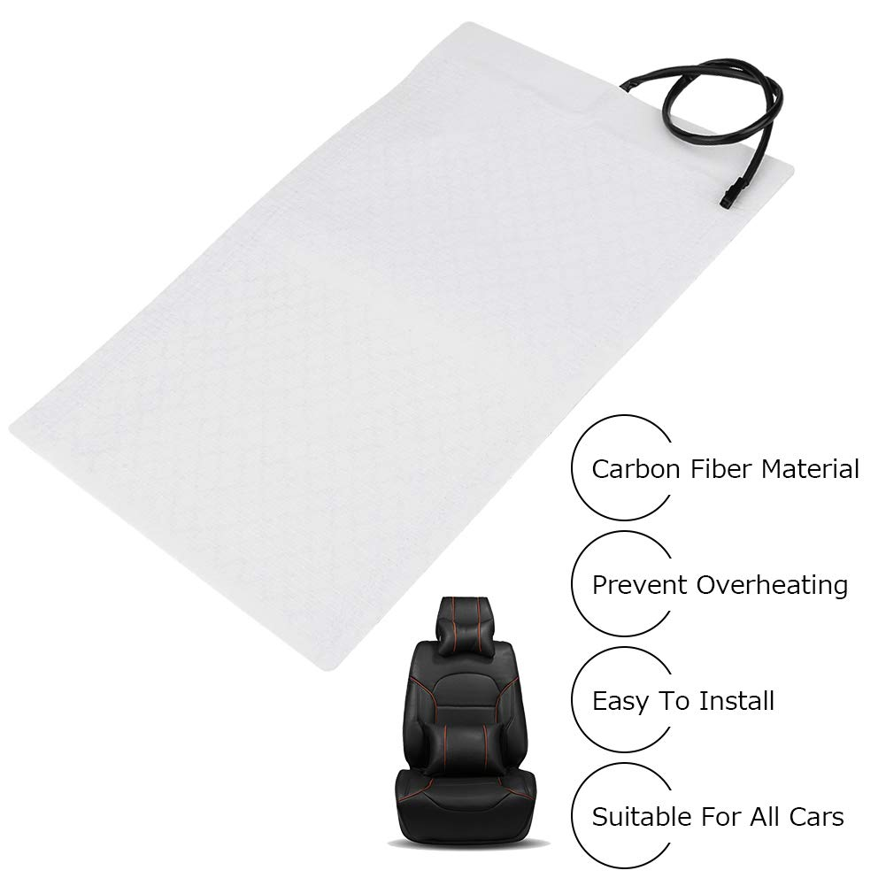 Carbon Fiber Car Seat Heater Kit Heated Seat Cushion Universal 2pcs Seat Heater Pads Element Covers Haating Mats with Round Switch for Cars 4*Heater Pads + 2*Switch