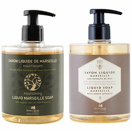 PANIER DES SENS Honey Liquid Marseille Soap and Olive Liquid Marseille Soap Set