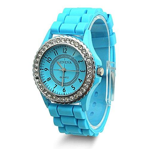 Estone Geneva Fashion Crystal Jelly Gel Silicon Girl Women's Quartz Wrist Watch (Light Blue)