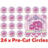 24 x 38mm Pre Cut Circle Pink Ladybird Happy 1st First Birthday Girl Fairy Muffin Cup Cake Toppers Decoration Edible Rice Wafer Paper