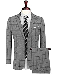 Men's 2 Piece Plaid Suit Vintage Fashion Single-Breasted Blazer Jacket & Suit Pant