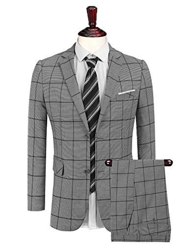 Coofandys Men's 2 Piece Plaid Suit Set Slim Fit Single breasted Blazer Jacket Tuxedeos & Pants,Medium,Grey ()