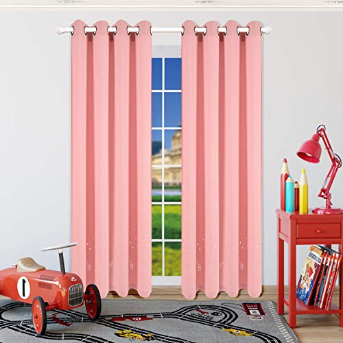 Taisier Home Laser Cutting Hollow Stars and Animal,Romantic Starry Sky Curtains Laser Cutting Out Stars Grommet Top Curtains(2 Panels Set),52W×84L Cute Drapes for Nursery/Girls Bedroom by Taisier Home