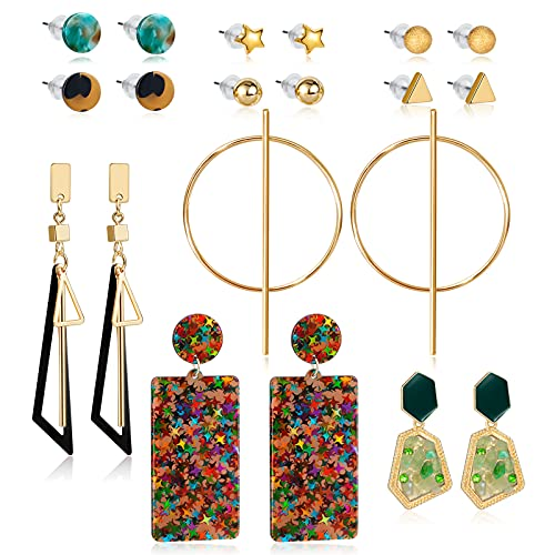 CHANBO 10 Pairs Female Star-shaped Spherical Pattern Acrylic Pendant Geometric Acetate Earrings