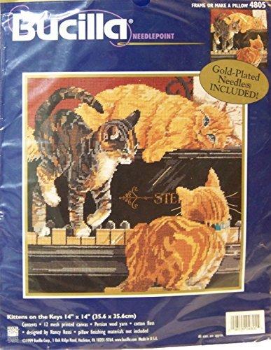 Bucilla Needlepoint Kit Kittens On The Keys Cats On Piano 4805 By Nancy Rossi 1999 - Cat Needlepoint Pillow