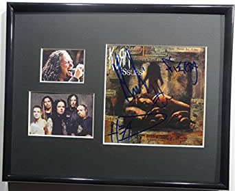Signed Korn Autographed Issues Cd Framed & Matted Display W/Pics