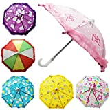 Hikfly Pack of 2pcs Cute Doll Toys Suny Rainy Umbrella for American Girl Dolls and Other 18 inch Dolls Decoration Games (F)