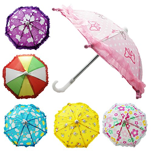 (Hikfly Pack of 2pcs Cute Doll Toys Suny Rainy Umbrella for American Girl Dolls and Other 18 inch Dolls Decoration Games (F))
