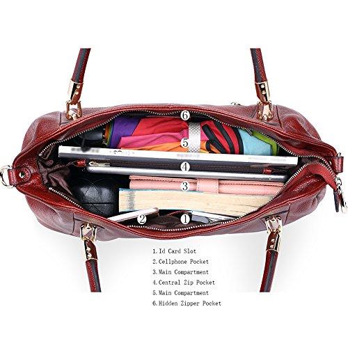 Work Genuine Bag Purse Women Handle Wine Red Shoulder Satchel Vintage Large Handbags Daily Top Women'S Leather Capacity Tote Vatan n7z4wxWRz